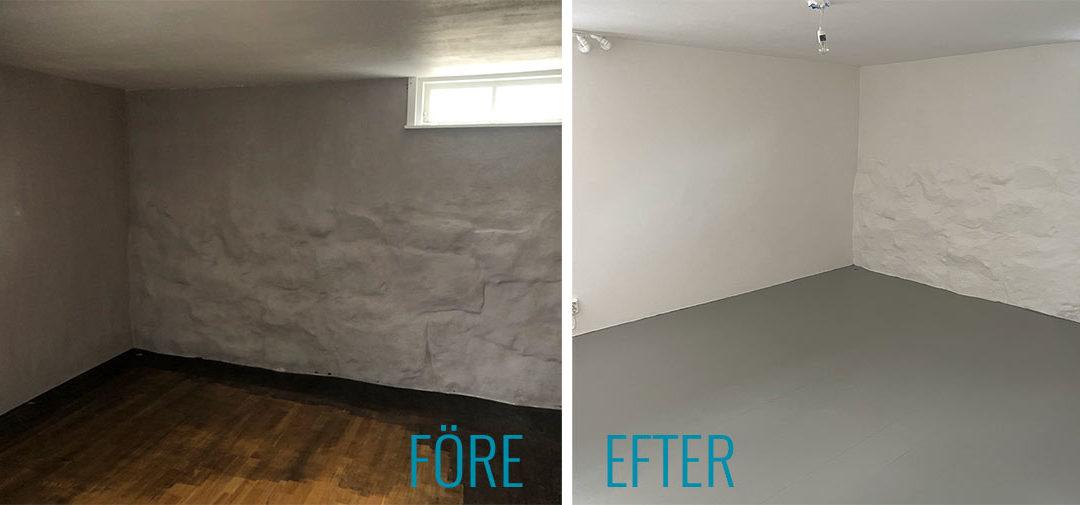 Målningsuppdrag tak, väggar & golv – hemmagym i Bromma